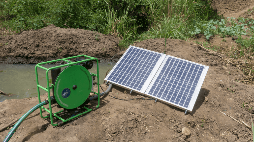 SF2 solar water pump next to gravity fed pond